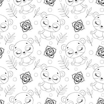 Modello senza cuciture di meditazione animali della giungla simpatico cartone animato