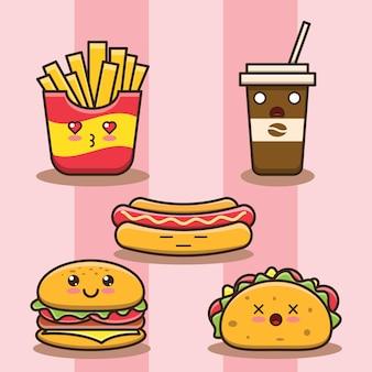 Illustrazione di cibo spazzatura simpatico cartone animato. stile cartone animato piatto