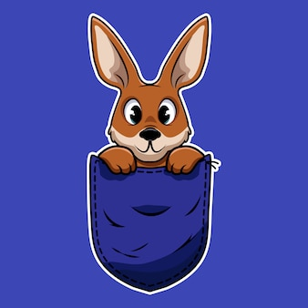 Canguro simpatico cartone animato in una tasca