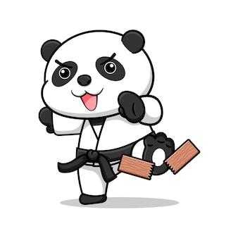 Simpatico cartone animato karate panda design