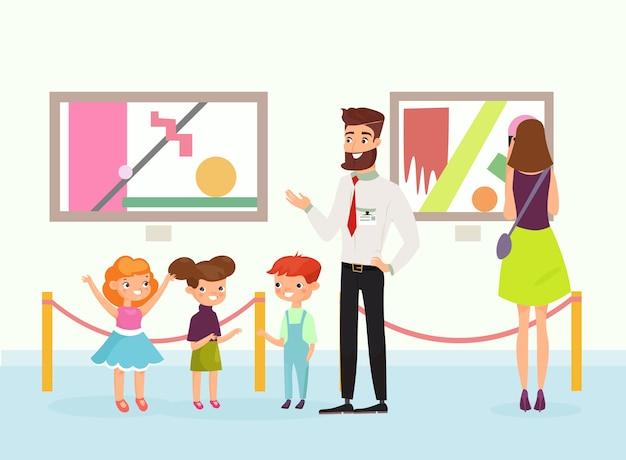 Bambini simpatici cartoni animati nella galleria d'arte, guardando le immagini, guida all'ascolto nel museo d'arte. la gente ammira la galleria di dipinti. stile piatto.