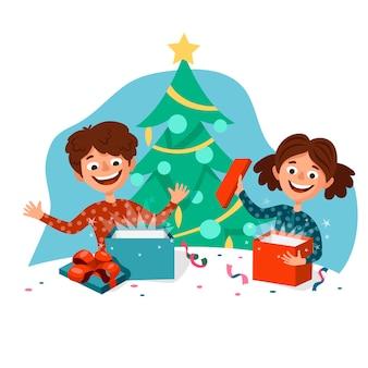 Bambini svegli del fumetto felici di aprire i regali di natale