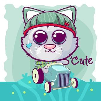 Gattino simpatico cartone animato per biglietto di auguri.