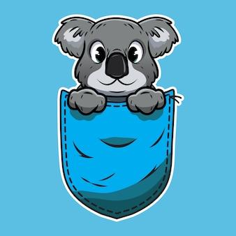 Koala simpatico cartone animato in una tasca
