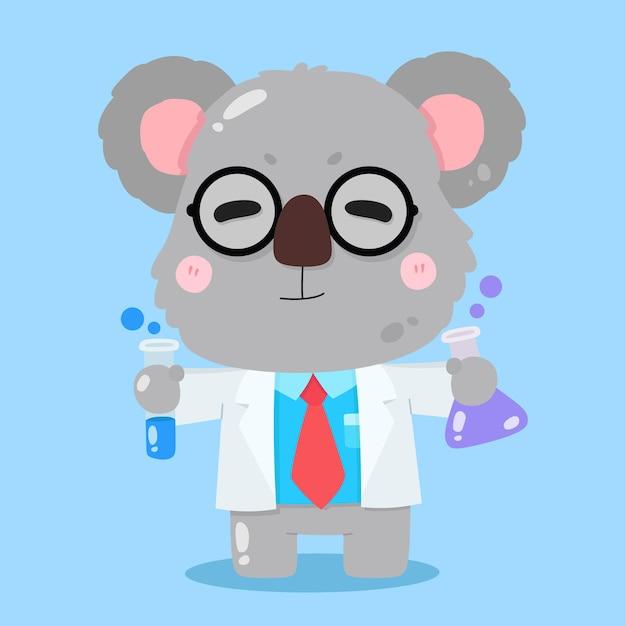 Cartoon carino koala scienziato vettore illustrazioni animali