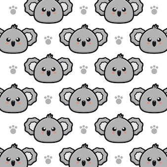 Simpatico cartone animato koala seamless pattern