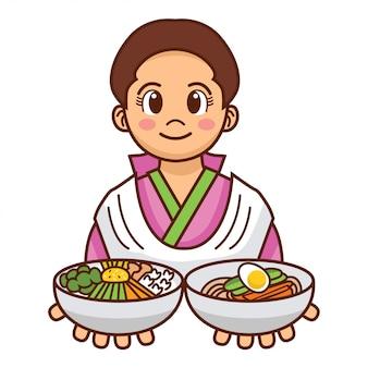 Ragazza coreana del fumetto sveglio in panno tradizionale che serve tagliatelle fredde e ciotola di riso mista,