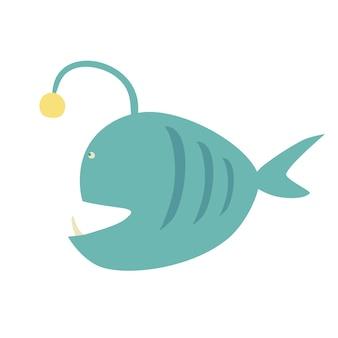 Pesce lanterna simpatico cartone animato. abitante del mare. simpatico personaggio per bambini. illustrazione vettoriale.
