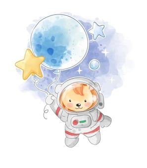 Simpatico cartone animato leone astronauta con illustrazione vettoriale palloncino stella star
