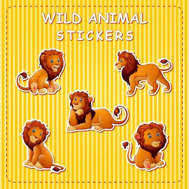 Leone simpatico cartone animato su adesivi