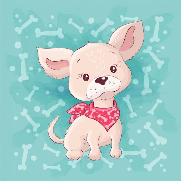 Simpatico cartone animato cagnolino, piccolo cucciolo. disegno a mano