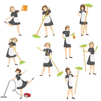 Cameriera simpatico cartone animato in posa in diverse situazioni di azione impostate. personaggio della cameriera che indossa un classico abito francese con un vestito nero e un grembiule bianco.