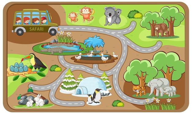 Modello di gioco del labirinto simpatico cartone animato