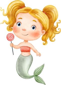 Sirena simpatico cartone animato con lecca-lecca dipinto ad acquerello su sfondo bianco