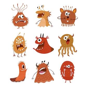 Simpatico cartone animato mostri illustrazione
