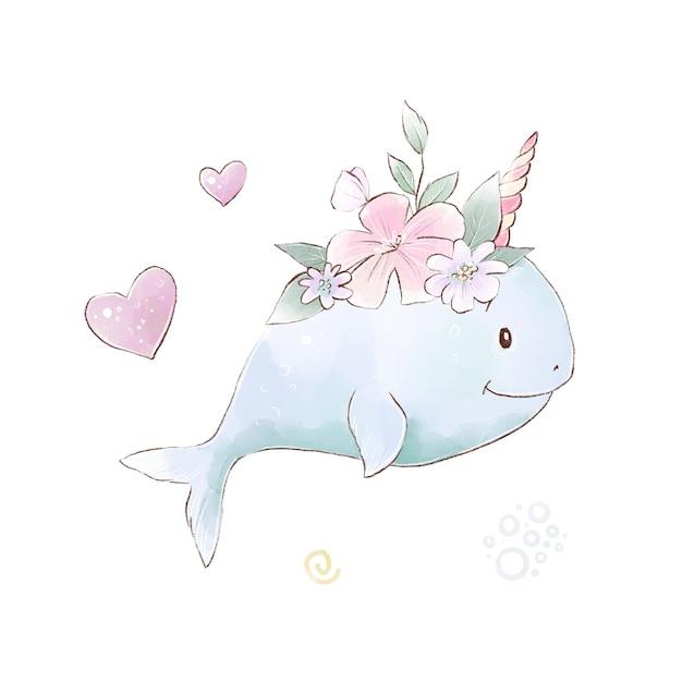 Illustrazione di narvalo simpatico cartone animato con semplici sfumature