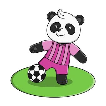 Panda sveglio del fumetto che gioca l'illustrazione della palla