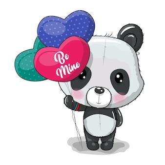 Panda simpatico cartone animato con illustrazione vettoriale di cuore