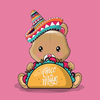 Panda simpatico cartone animato con cappello messicano e tacos. cinco de mayo