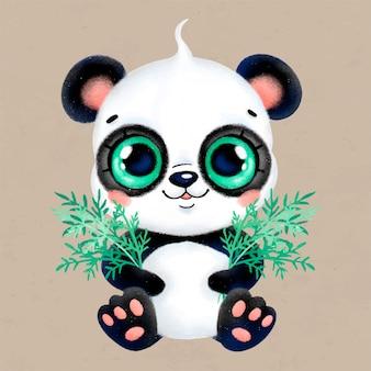 Simpatico cartone animato pastello piccolo panda con foglie di bambù