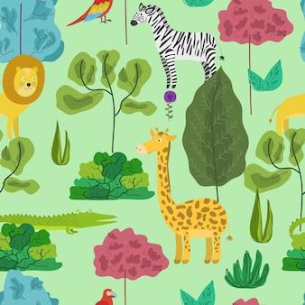Modello simpatico cartone animato con animali della giungla nella foresta
