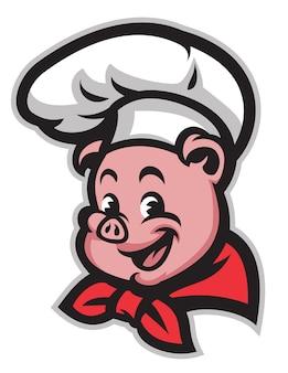 Chef di maiale simpatico cartone animato