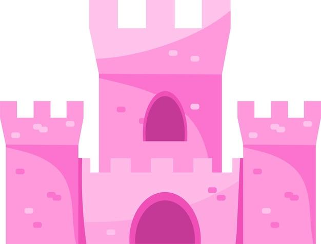 Castello magico colorato rosa sveglio del fumetto.