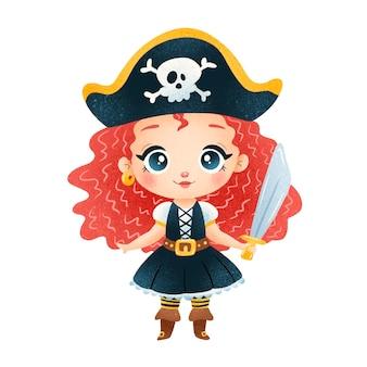 Ragazza pirata simpatico cartone animato isolata su bianco