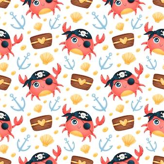 Modello senza cuciture di animali pirati simpatico cartone animato. modello pirata granchio