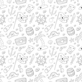 Modello senza cuciture di pirati simpatico cartone animato. doodle modello pirata. pagina da colorare di pirata