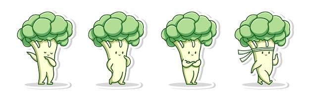Simpatico personaggio di posa del fumetto di broccoli