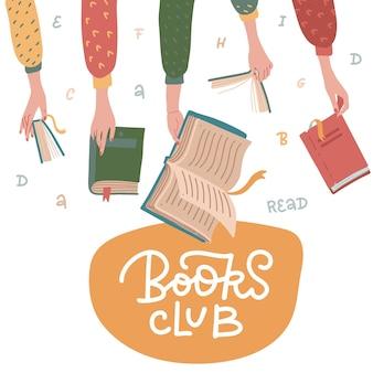 Simpatico cartone animato del club di lettura. libri aperti in mani umane
