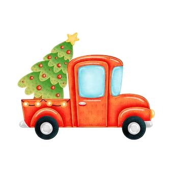 Un camion rosso simpatico cartone animato con un albero di natale