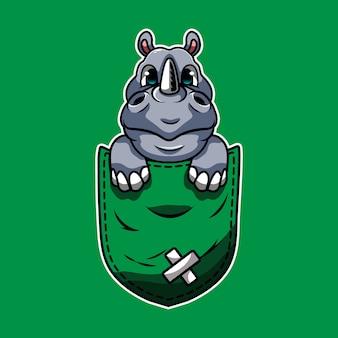 Simpatico cartone animato un rinoceronte in una tasca