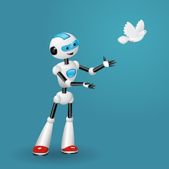 Robot simpatico cartone animato rilasciando una colomba per il concetto di libertà.