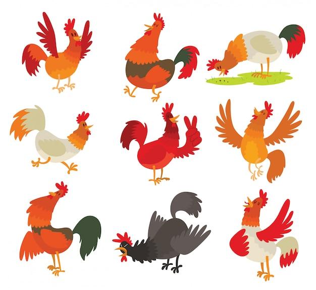 Simpatico personaggio dei cartoni animati di gallo gallo