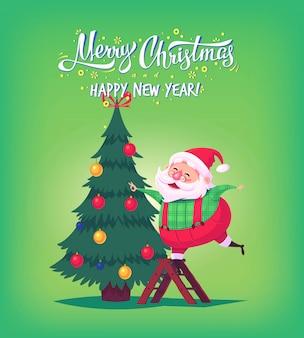 Simpatico cartone animato babbo natale che decora l'albero di natale illustrazione di buon natale poster di cartolina d'auguri