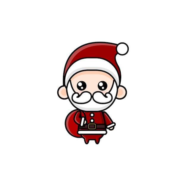 Simpatico cartone animato babbo natale kawai
