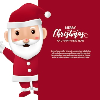 Simpatico cartone animato babbo natale per buon natale e felice anno nuovo evento