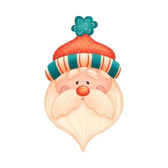 Simpatico cartone animato babbo natale con cappello rosso