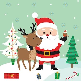 Simpatico cartone animato babbo natale e renne, illustrazione vettoriale