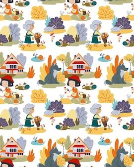 Simpatico cartone animato senza cuciture cappello rosso da favola con cappuccio rosso ragazza nonna e lupo nella foresta