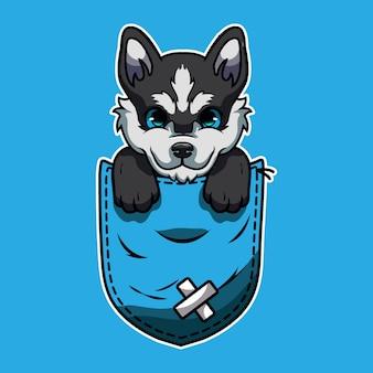 Simpatico cartone animato un husky siberiano in una tasca Vettore Premium