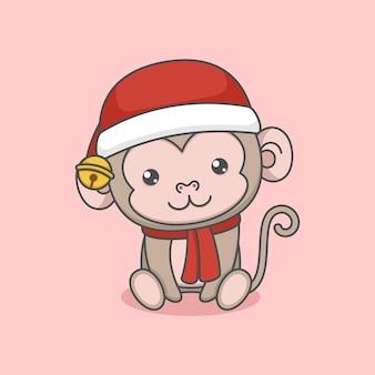 Simpatico cartone animato seduto scimmia di natale