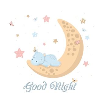 Simpatico cartone animato che dorme ippopotamo animale bambino con la luna e le stelle. carta della buona notte