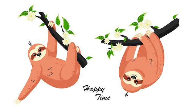 Bradipo simpatico cartone animato. adorabile animale sonnolento bradipo alla foresta pluviale della giungla pigro diverso.