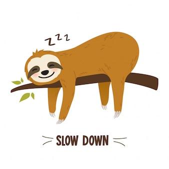 Grafica bradipo simpatico cartone animato