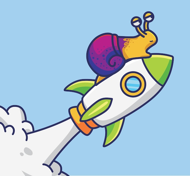 Lumaca sveglia del fumetto che va nello spazio usando l'icona dell'illustrazione di vettore dell'astronauta del razzo animale isolato
