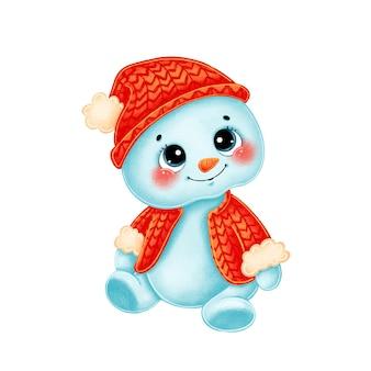 Un pupazzo di neve simpatico cartone animato in un maglione e cappello lavorato a maglia rosso