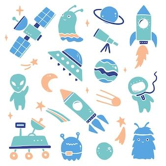 Set spaziale simpatico cartone animato, razzo, astronauta, pianeta, ufo, alieno. stile bambini disegnati a mano